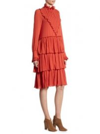 See by Chlo  - Pleated Bib Ruffle Midi Dress at Saks Fifth Avenue
