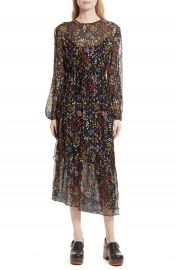 See by Chlo   Floral Print Metallic Silk Midi Dress at Nordstrom