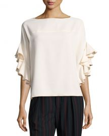 See by Chloe Boat-Neck Ruffled-Sleeve Crepe Top  White at Neiman Marcus