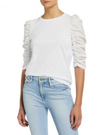 See by Chloe Crewneck Ruched 3 4-Sleeve T-Shirt at Neiman Marcus