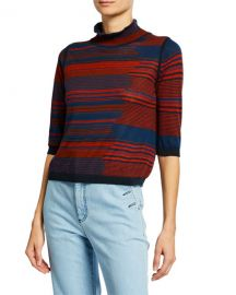 See by Chloe High-Neck Jacquard 3 4-Sleeve Sweater at Neiman Marcus