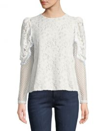 See by Chloe Long-Sleeve Lace Ruffle Crewneck Blouse at Neiman Marcus