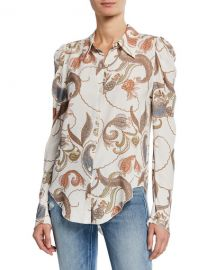 See by Chloe Paisley-Print Long-Sleeve Button-Up Blouse at Neiman Marcus