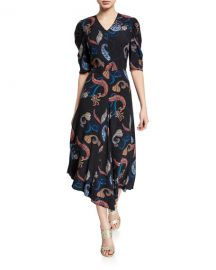 See by Chloe Paisley-Print Short-Sleeve Asymmetrical Midi Dress at Neiman Marcus