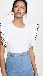 See by Chloe Ruffle Sleeve Embroidered Tee at Shopbop