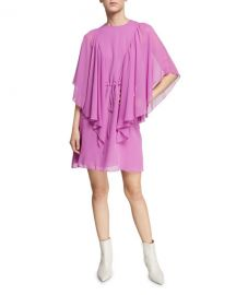 See by Chloe Ruffled Tie-Waist Cape-Sleeve Short Dress at Neiman Marcus