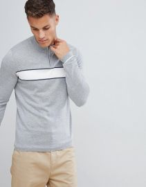 Selected Homme 1 4 zip knitted sweater with sport stripe at asos com at Asos