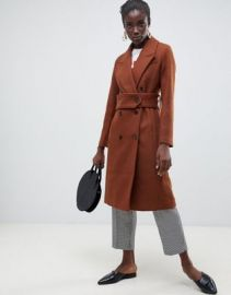 Selected Femme Double Breasted Midi Length Coat at ASOS
