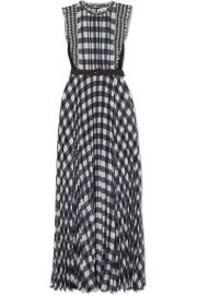 Self-Portrait - Belted jersey-paneled ruffled gingham georgette maxi dress at Net A Porter