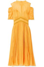 Self-Portrait   Cold-shoulder pleated chiffon midi dress at Net A Porter