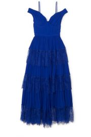 Self-Portrait - Cold-shoulder tiered lace-trimmed pleated chiffon maxi dress at Net A Porter