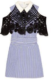 Self-Portrait   Guipure lace-paneled striped cotton-poplin mini dress at Net A Porter