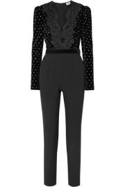 Self-Portrait - Guipure lace-trimmed embellished velvet and crepe jumpsuit at Net A Porter