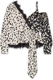 Self-Portrait - Lace-trimmed leopard-print satin-jacquard blouse at Net A Porter