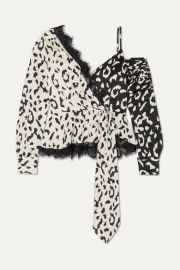 Self-Portrait - Lace-trimmed leopard-print satin-jacquard blouse at Net A Porter