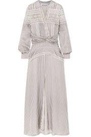 Self-Portrait - Lace-trimmed striped satin maxi dress at Net A Porter