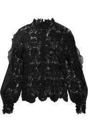Self-Portrait   Naia chiffon-trimmed guipure lace blouse at Net A Porter