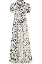 Self-Portrait - Open-back ruched leopard-print jersey maxi dress at Net A Porter