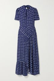 Self-Portrait - Ruched printed crepe midi dress at Net A Porter