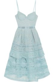 Self-Portrait   Tiered paneled guipure lace dress at Net A Porter