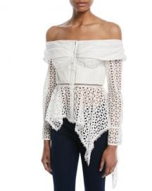 Self-Portrait Asymmetric Broderie Anglaise Top   Neiman Marcus at Neiman Marcus