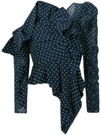 Self-Portrait Asymmetric Polka Dot Blouse at Farfetch