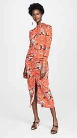 Self Portrait Botanical Printed Crepe Midi Dress at Shopbop