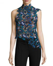 Self-Portrait Celeste Guipure Lace Asymmetric Top at Neiman Marcus