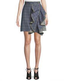 Self-Portrait Check Flounce Mini Skirt at Neiman Marcus
