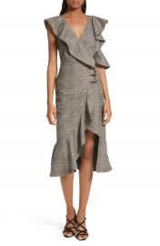 Self-Portrait Check Wool Faux Wrap Dress at Nordstrom