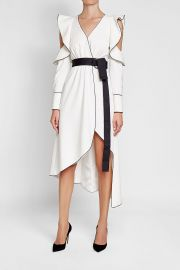 Self Portrait Cold-Shoulder Dress with Ruffle Trims and Belt at Stylebop