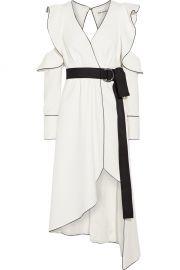 Self Portrait Cold-shoulder wrap-effect crepe dress at Net A Porter