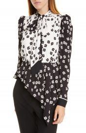 Self-Portrait Daisy Print Asymmetrical Top   Nordstrom at Nordstrom