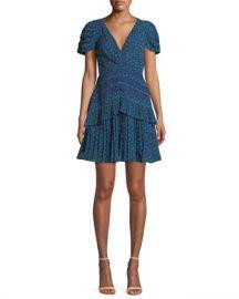 Self-Portrait Dot-Print Chiffon Lace-Trim Short dress at Neiman Marcus