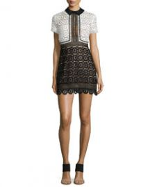 Self Portrait Felicia Collared Lace Dress BlackWhite at Neiman Marcus