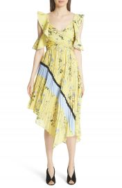 Self-Portrait Floral Pleated Asymmetrical Dress at Nordstrom