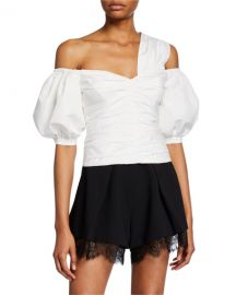 Self-Portrait Ivory Taffeta One-Shoulder Top at Neiman Marcus