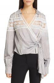 Self-Portrait Lace Trim Stripe Wrap Top   Nordstrom at Nordstrom