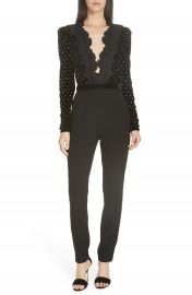 Self-Portrait Lace Trim Velvet Diamante Jumpsuit   Nordstrom at Nordstrom