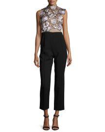 Self Portrait Lilac Floral-Lace Trouser-Combo Jumpsuit at Neiman Marcus