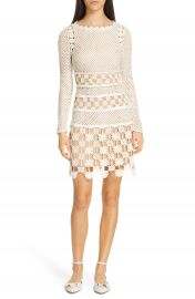 Self-Portrait Long Sleeve 3D Floral Crochet Lace Minidress   Nordstrom at Nordstrom
