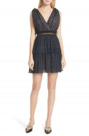 Self-Portrait Metallic Stripe Tie Strap Dress at Nordstrom