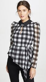 Self Portrait Monochrome Gingham Printed Top at Shopbop