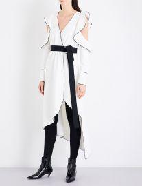 Self Portrait Monochrome asymmetric wrap crepe dress at Selfridges