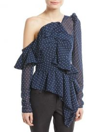 Self-Portrait One-Shoulder Dotted Plumetis Frill Top   Neiman Marcus at Neiman Marcus