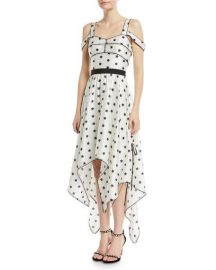 Self-Portrait Printed Star Sleeveless Handkerchief Cocktail Dress at Neiman Marcus