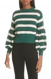 Self-Portrait Puff Sleeve Cotton  amp  Wool Crop Sweater at Nordstrom