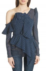 Self-Portrait Ruffle Asymmetrical Plumetis Top at Nordstrom