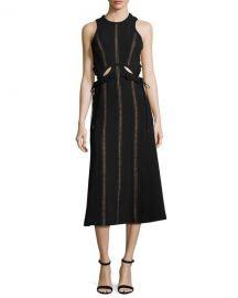 Self-Portrait Sleeveless Cutout Midi Dress  Black at Neiman Marcus