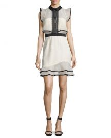 Self-Portrait Sleeveless Lace Popover Mini Dress  White Black at Neiman Marcus